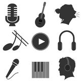 Music icons. A series of music performance, listening and instrument icons Stock Photos
