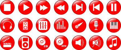 Music icons set. Of 21 objects Stock Photos