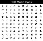 Music icons. A set of 100 black music and sound icons Royalty Free Stock Image