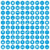 100 music icons set blue. 100 music icons set in blue hexagon isolated vector illustration Royalty Free Stock Photography
