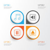 Music Icons Set. Collection Of Extract Device, Mute Song, Note And Other Elements. Also Includes Symbols Such As Extract. Music Icons Set. Collection Of Extract Stock Photography