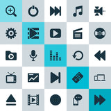 Music Icons Set. Collection Of Movie, Karaoke, Devices And Other Elements. Also Includes Symbols Such As Audio, In. Music Icons Set. Collection Of Movie, Karaoke Stock Photography