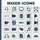 Music Icons Set. Collection Of Playlist, Synchronize, Top And Other Elements. Also Includes Symbols Such As Button, Full Royalty Free Stock Images