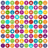 100 music icons set color. 100 music icons set in different colors circle isolated vector illustration Stock Photos