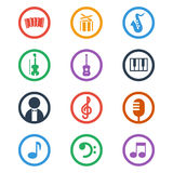 Music icons set. Color vector illustration. Music icons set on white background. Color vector illustration Stock Images