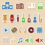 Music Icons. Set of colored music icons Stock Photos