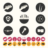 Music icons set. Icons set contains music instruments Royalty Free Stock Images