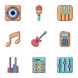 Music icons set, flat style. Music icons set. Flat set of 9 music vector icons for web isolated on white background Royalty Free Stock Photo