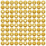 100 music icons set gold. 100 music icons set in gold circle isolated on white vector illustration Royalty Free Stock Photos