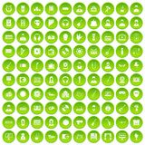 100 music icons set green. 100 music icons set in green circle isolated on white vectr illustration Stock Image
