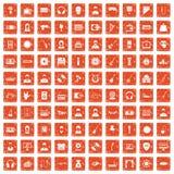100 music icons set grunge orange. 100 music icons set in grunge style orange color isolated on white background vector illustration Stock Image