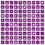 100 music icons set grunge purple. 100 music icons set in grunge style purple color isolated on white background vector illustration stock illustration