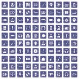 100 music icons set grunge sapphire. 100 music icons set in grunge style sapphire color isolated on white background vector illustration Stock Photos