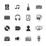 Music icons set mobile black Stock Image