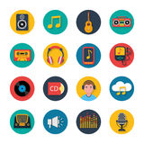Music icons set mobile round solid Royalty Free Stock Photo