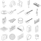 Music Icons set. In isometric 3d style isolated on white royalty free illustration