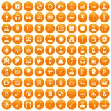 100 music icons set orange. 100 music icons set in orange circle isolated on white vector illustration Royalty Free Stock Images