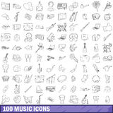 100 music icons set, outline style Stock Photo