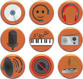 Music icons. Set  9 pieces Stock Photos