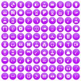 100 music icons set purple. 100 music icons set in purple circle isolated on white vector illustration Royalty Free Stock Photos