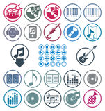 Music icons set, simple single color vector icons set for music Royalty Free Stock Image