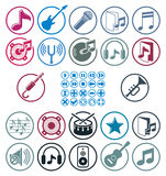 Music icons set, simple single color vector icons set for music Royalty Free Stock Photography