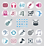Music icons set, simple single color vector icons set for music Stock Photos
