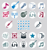 Music icons set, simple single color vector icons set for music Royalty Free Stock Photo