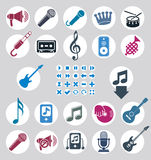 Music icons set, simple single color vector icons set for music Stock Images