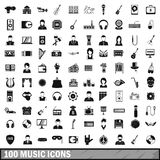 100 music icons set, simple style Stock Photo