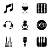 Music icons set, simple style. Music icons set. Simple set of 9 music vector icons for web isolated on white background Stock Photography