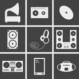 Music icons. Set of icons on a theme music Royalty Free Stock Images