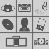 Music Icons. Set of icons on a theme music Royalty Free Stock Photo