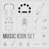 Music icons set stock illustration
