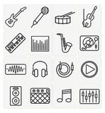 Music icons set. Vector music icons set 16 black color Stock Photos