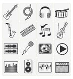 Music icons set. Vector music icons set 16 black color Royalty Free Stock Images