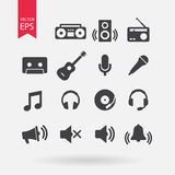 Music Icons set Vector. Flat design. Music signs isolated on white background. Audio, sound elements for design. Stock Image