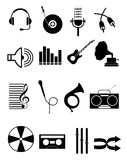 Music Icons Set. Vector illustration of various music icons set on a white background Royalty Free Stock Photos