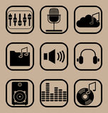 Music icons set. Set of vector icons representing music and musical equipment concepts royalty free illustration