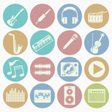 Music icons set. Vector white icons music set 16 with color circle Stock Photos