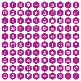100 music icons hexagon violet. 100 music icons set in violet hexagon isolated vector illustration royalty free illustration