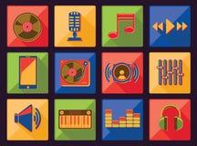 Music icons. Vector flat set Royalty Free Stock Photo