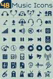 48 Music Icons Vector Set. Music themed icons for music players, apps etc. File type: vector EPS AI8 compatible. No transparencies and no gradient fills Stock Images