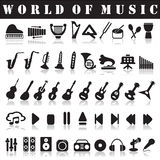 Music icons. On a white background with a shadow Royalty Free Stock Photo