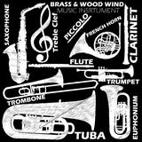 Music. Icons about woodwind and brasswind music instrument sketch by chalk on blackboard. In vector style Royalty Free Stock Images