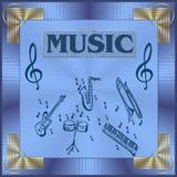 Music illustration. Abstract music illustration, with gold corners stock illustration