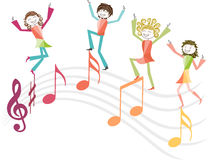 Music illustration with people and music notes Royalty Free Stock Images