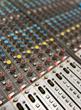 Music industry. Audio mixing board shot close up stock images