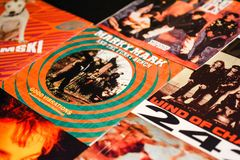Music industry back in the 1990s 45 rpm single records stock photos
