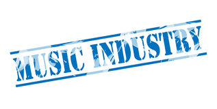 Music industry blue stamp. Isolated on white background Vector Illustration